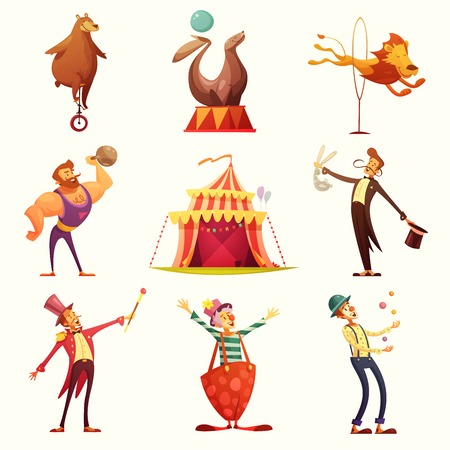 travelling: Traveling chapiteau circus retro cartoon icons collection with tent and trained wild animals performance isolated vector illustration