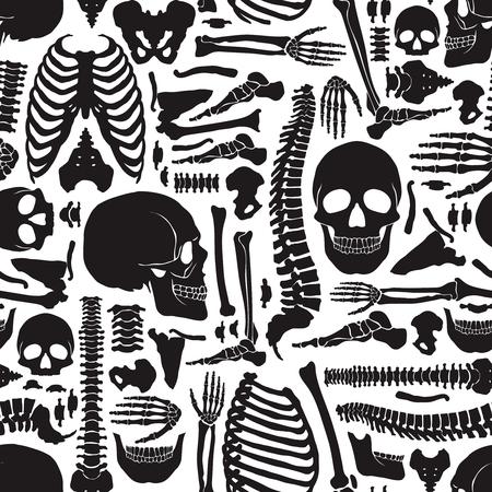 body wrap: Monochrome human skeleton seamless pattern with big skulls and various single bones flat vector illustration Illustration