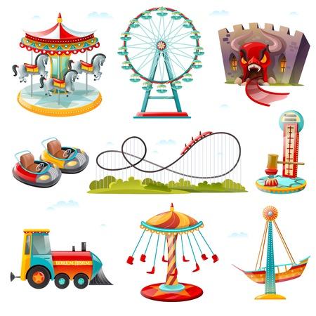 Las principales atracciones del parque de atracciones monta la colección de iconos planos con la rueda de carrusel y la ilustración de vector de montaña rusa Ilustración de vector