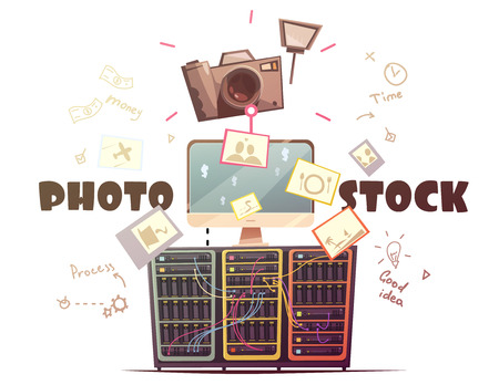 contributors: Successful high quality photo contributors to stock agencies concept symbols composition in retro cartoon style vector illustration Illustration