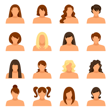 informal: Woman hairstyle icons set with face and shoulders flat isolated vector illustration