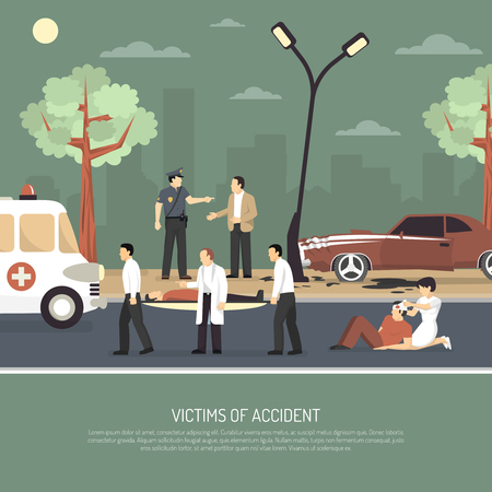 First aid on spot assistance for traffic accident victims flat poster with ambulance policeman and driver vector illustration