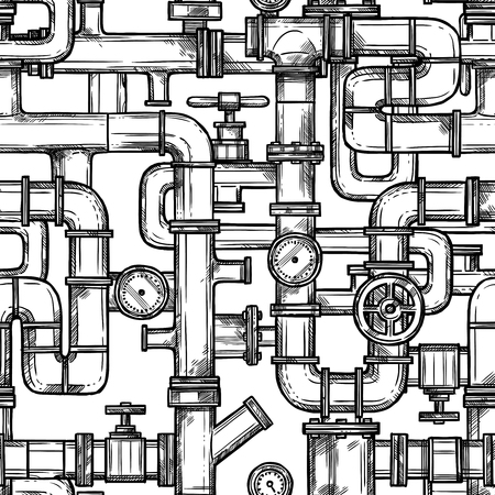 Sketch monochrome seamless pattern with pipes system doodle vector illustration Illustration