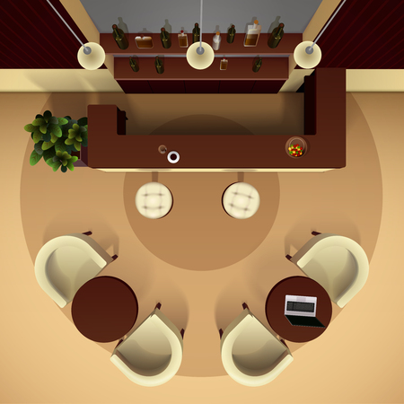 service entrance: Hall lobby interior realistic top view with bar and drinks vector illustration Illustration