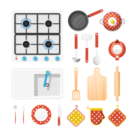 Kitchen utensils top view icons set with cooker fork and knife flat isolated vector illustration Illustration