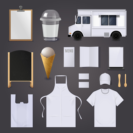 white blank: Ice cream corporate identity blank realistic set for marketing isolated vector illustration