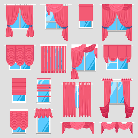 casement: Red curtains set of vintage textile models with lambrequin and modern jalousie and roman blind isolated vector illustration Illustration