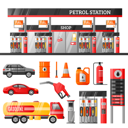 gas pump: Petrol station design concept with canister filling gun refuelling racks gasoline tanker flat icons isolated vector illustration
