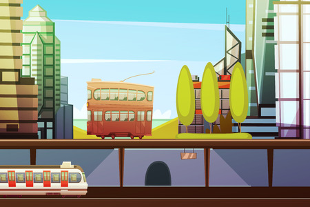 hong kong harbour: Hong kong downtown cartoon front view with city transport and town buildings elements flat vector illustration