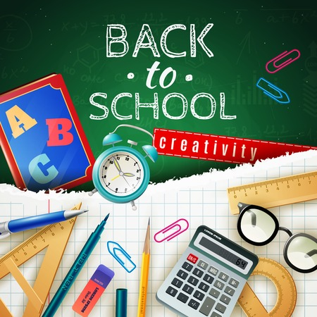 accessory: Back to school design concept with calculator protractor triangle ruler alarm clock schoolbook and other pupil accessories flat vector illustration
