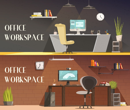dia y noche: Modern office workspace furniture and accessories cartoon vector banners set with desk lamps and cabinets vector isolated illustration Vectores