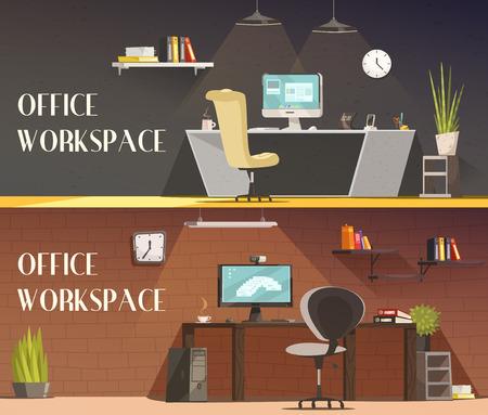 jornada de trabajo: Moderno espacio de trabajo de oficina muebles y accesorios vector de dibujos animados banners conjunto con lámparas de escritorio y gabinetes vector ilustración aislados Vectores
