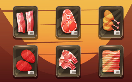 counter top: Top view of meat counter with trays of chicken legs chops loin brisket in cartoon style flat vector illustration Illustration