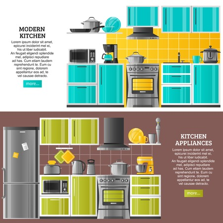 kitchen equipment: Kitchen interior horizontal banners in realistic style with modern equipment and appliances flat vector illustration