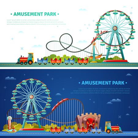 parque de atracciones horizontal banderas planas con tren de los niños iconos de la montaña rusa rueda de la fortuna composiciones ilustración vectorial