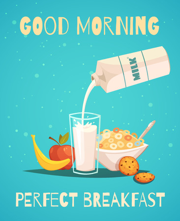 banana bread: Perfect breakfast poster in retro style with good morning wishing and healthy food icons set of milk fruit and cereal flat vector illustration
