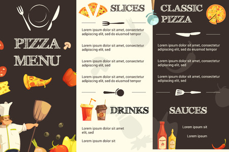 sauces: Menu template for restaurant and pizzeria with different kinds of pizza sauces and drinks information vector illustration