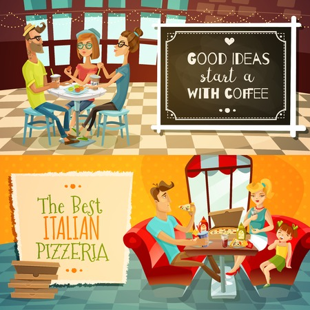 visitors: People in restaurant two horizontal banners with cafe visitors drinking coffee and family with kid in interior of pizzeria flat vector illustration Illustration