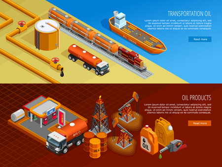 transportation facilities: Gas oil industry storage and transportation facilities 2 isometric horizontal banners with filling station isolated vector illustration