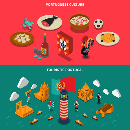 touristic: Portugal isometric horizontal banners set with architecture and culture symbols isolated vector illustration