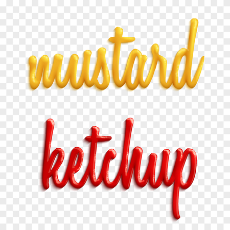 Set of sauce words by mustard and ketchup vector illustration