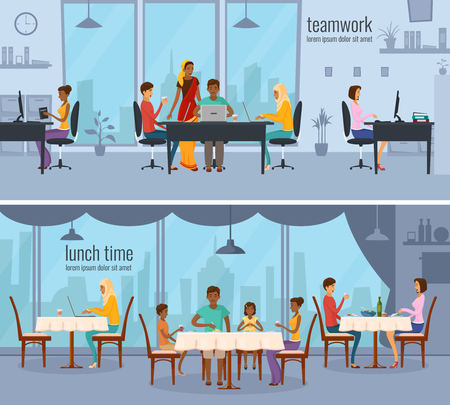 niqab: Two horizontal compositions with eastern people from different ethnic groups working in office and sitting in cafe flat vector illustration