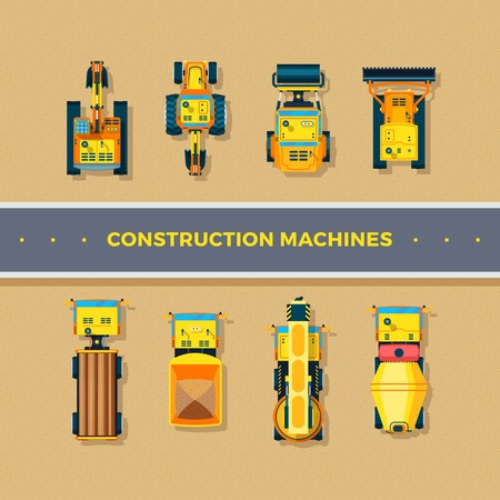 machines: Construction machines top view with bulldozer and excavator flat isolated vector illustration Illustration