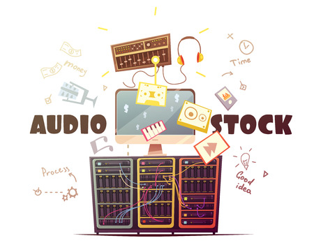 gain access: Audio stock for royalty free music sound effects download from global contributors community retro cartoon vector illustration
