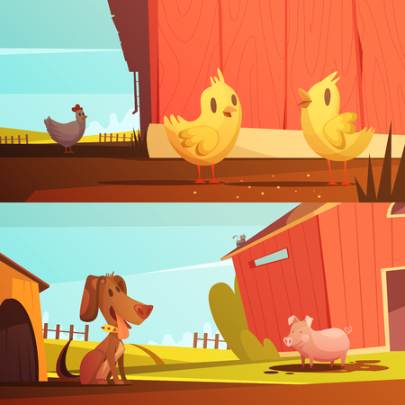 guard dog: Farm animals for kids 2 horizontal cartoon style banners with  doghouse for guard dog isolated vector illustration