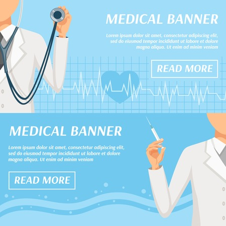 general practitioner: Health care medical banners webpage design with general practitioner doctor and heart rate symbol isolated vector illustration Illustration