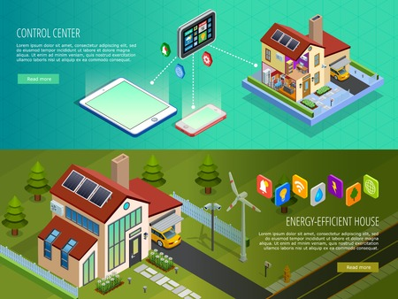 controlled: Internet of things smart home infrastructure 2 horizontal isometric banners with computer controlled energy supply isolated vector illustration