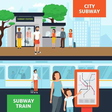 subway station: Subway horizontal banners with people near station entrance waiting for train and looking at map flat isolated vector illustration