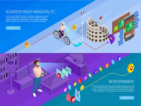 Augmented reality navigation entertainment 2 horizontal isometric banners webpage design with virtual travel games isolated vector illustration