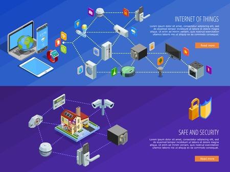 Het internet van de dingen home comfort en de veiligheid afstandsbediening 2 isometrische banners webpage design geïsoleerde vector illustratie