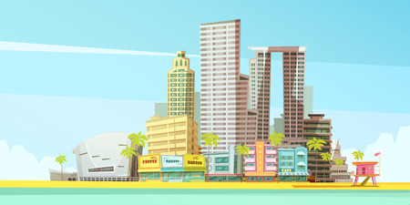 sandy beach: Miami skyline design concept for  business travel and tourism presentation flat vector illustration Illustration