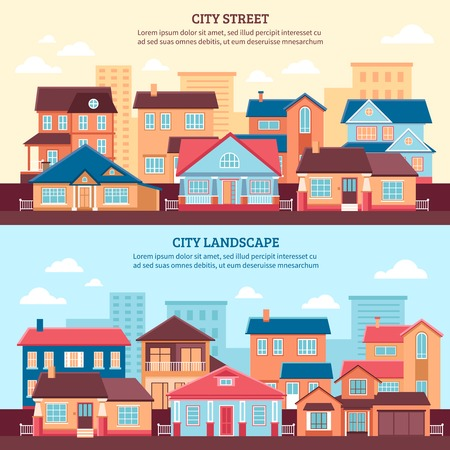 multi storey: City landscape flat horizontal banners with one and two storey cottages and multi storey buildings flat vector illustration