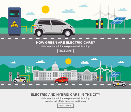 hybrid: Electric and hybrid cars in city 2 flat banners webpage design on green energy information isolated vector illustration Illustration