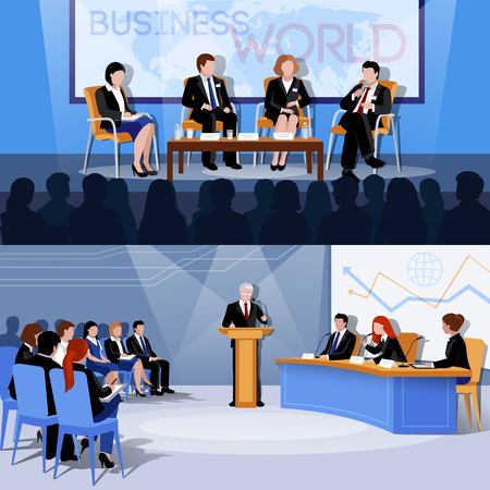 articulation: Business world international conference presentations 2 flat vectors set with public speaking participants abstract isolated vector illustration
