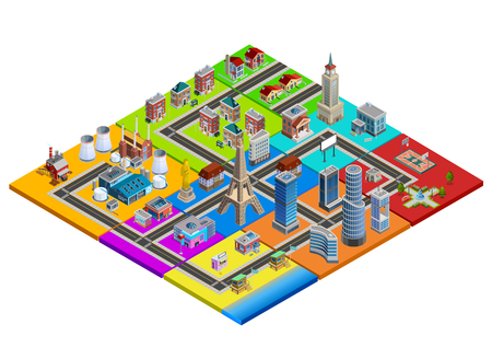 complex: City map isometric construction from colorful blocks of residential industrial commercial business areas and landmarks vector illustration Illustration