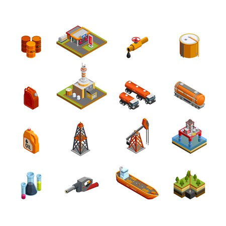 Oil gas industry isometric icons set with offshore platform drilling rig and tanker vessel isolated vector illustration