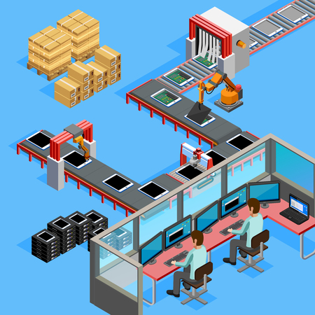 Automated belt conveyor production computerized assembling line remotely controlled by two operators isometric poster abstract vector illustration Иллюстрация