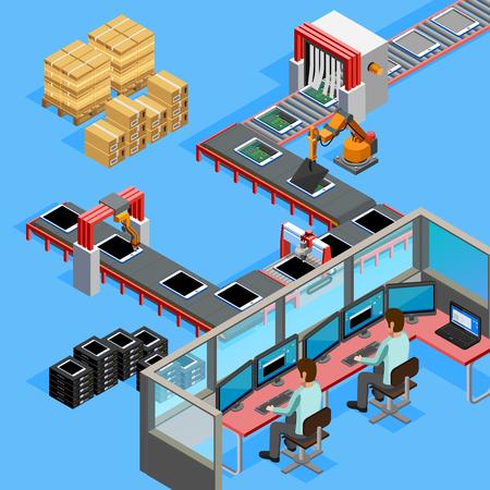 Produção automatizada de correia transportadora linha de montagem computadorizada controlada remotamente por dois operadores isométrica cartaz ilustração abstrata do vetor