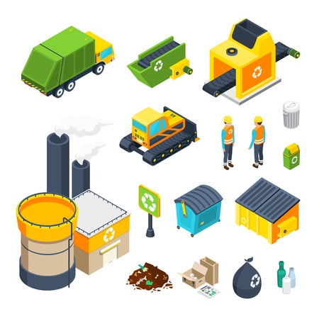 Isometric icon set of different elements of garbage collecting sorting and recycling system isolated vector illustration