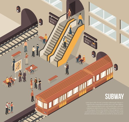 Subway railway rapid transit system underground station isometric poster with passengers on platform and train vector illustration