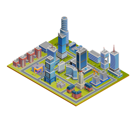 cityscapes: Isometric cityscape with skyscrapers historic and modern buildings and stores on white background vector illustration Illustration