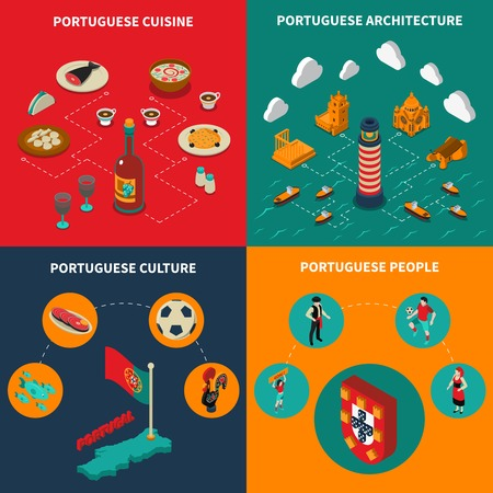 portugese: Portugal concept icons set with cuisine and culture symbols isometric isolated vector illustration