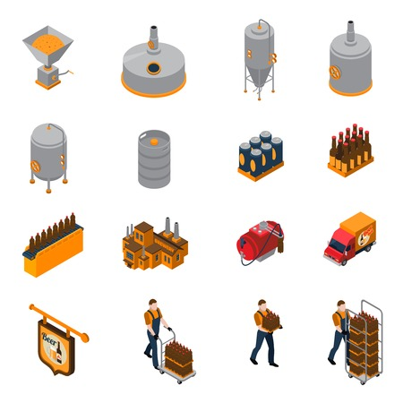 Brewery isometric icons set with beer production and distribution symbols isolated vector illustration
