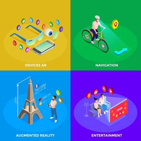navigazione: Augmented reality devices for family entertainment and navigation experience 4 isometric icons square poster isolated vector illustration Vettoriali