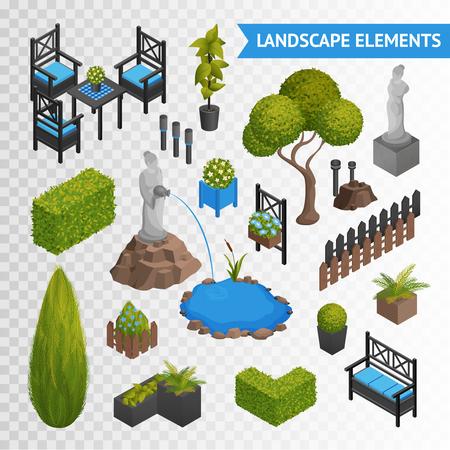 Diverse tuin parklandschap isometrische elementen set met planten bloemen meubilair en standbeelden op een transparante achtergrond vector illustratie