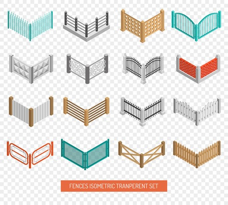 boundaries: Fences for real estate boundaries from wood and wrought iron isometric icons collection transparent background isolated vector illustration